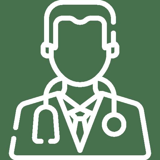 Ilustração de médico com estetoscópio em volta do pescoço